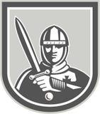 Cavaleiro With Sword Front Crest do cruzado ilustração do vetor