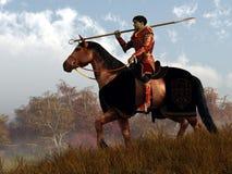 Cavaleiro vermelho em uma procura ilustração stock