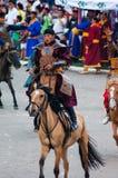 Cavaleiro vestido como o guerreiro, cerimônia de inauguração de Nadaam Foto de Stock