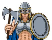Cavaleiro Woman de Viking Trojan Spartan Celtic Warrior ilustração royalty free