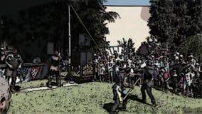 Cavaleiros com lanças históricas que lutam entre si Vídeo dos desenhos animados filme