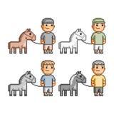 Cavaleiros da arte do pixel Fotos de Stock Royalty Free