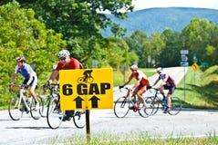 Cavaleiros da bicicleta atrás do sinal Imagem de Stock Royalty Free