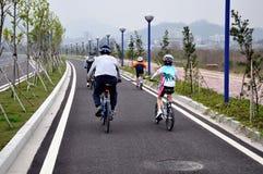 Cavaleiros da bicicleta da família na estrada nova Fotografia de Stock