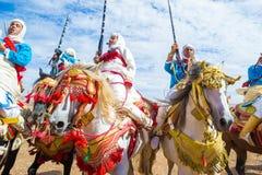 Cavaleiros da fantasia em Marrocos fotografia de stock royalty free