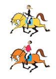 Cavaleiros do cavalo do homem e da mulher Fotos de Stock Royalty Free