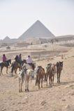 Cavaleiros do cavalo em torno das pirâmides Fotografia de Stock