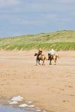 Cavaleiros do cavalo na praia Imagem de Stock Royalty Free