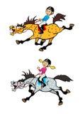 Cavaleiros do pônei do rapaz pequeno e da menina Imagem de Stock Royalty Free