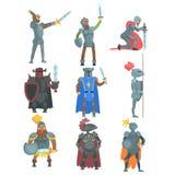 Cavaleiros em Armor Set Of Flat Illustrations completo Fotografia de Stock Royalty Free