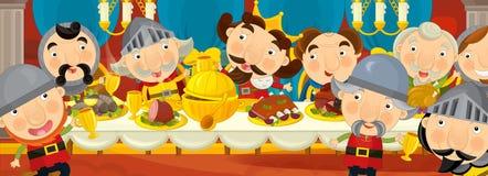Cavaleiros medievais dos desenhos animados pela tabela - para contos de fadas diferentes Imagem de Stock Royalty Free