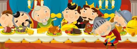 Cavaleiros medievais dos desenhos animados pela tabela - para contos de fadas diferentes Foto de Stock Royalty Free