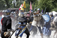 Cavaleiros medievais usados na batalha Fotos de Stock Royalty Free
