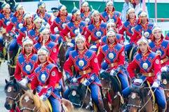 Cavaleiros na cerimônia de inauguração de Nadaam Foto de Stock Royalty Free