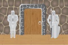 Cavaleiros no castelo que guardam a porta ilustração do vetor