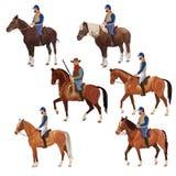 Cavaleiros nos horsebacks ajustados ilustração royalty free