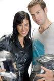 Cavaleiros novos com capacete Fotografia de Stock
