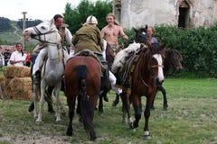 Cavaleiros que fazem uma demonstração Imagem de Stock