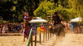 Cavaleiros que jousting com lanças Fotos de Stock