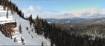 Cavalete coberto de neve do trem nas montanhas Foto de Stock Royalty Free