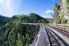 Cavalete histórico em Myra Canyon Provincial Park, Canadá Fotografia de Stock