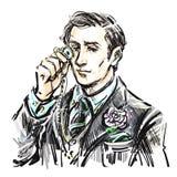 Cavalheiro atrativo novo com um monóculo ilustração stock