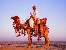Cavalheiro colorido com o camelo no camelo justo, Jaisalmer, Índia Fotos de Stock