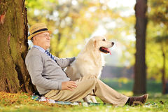Cavalheiro superior e seu cão que sentam-se na terra e que levantam em um p Fotografia de Stock Royalty Free