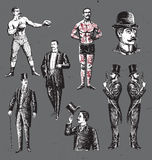 Cavalheiros tirados mão do vintage ajustados ilustração stock