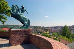 Cavalier au-dessus de Budapest Images libres de droits