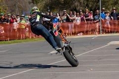 Cavalier de cascade de moto - Wheelie Photos libres de droits