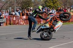Cavalier de cascade de moto - Wheelie Photo stock