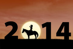 Cavalier de cheval au coucher du soleil avec 2014 Photo stock