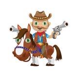 Cavalier de cowboy sur un étalon, caractère occidental sauvage Photos libres de droits