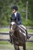 Cavalier de horseback recherchant le prochain saut Images stock