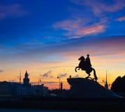 Cavalier en bronze à St Petersburg Image libre de droits