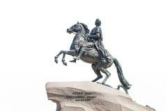 Cavalier en bronze dans le St Petersbourg, d'isolement sur le backgroun blanc Image stock