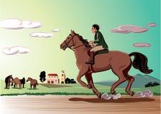 Cavalier et cheval fonctionnant dans le vent illustration stock