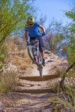Cavalier incliné de vélo Photographie stock libre de droits