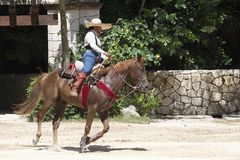 Cavalier mexicain de cheval, Cancun Photos libres de droits
