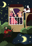 Cavalier nobres no amor que joga a serenata no bandolim para seu amante sob o balcão Foto de Stock