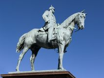 Cavalier statue. Statue of German emperor Wilhelm 2nd in Kiel stock photography