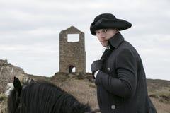Cavaliere bello del cavallo in costume del XVIII secolo di Regency Poldark Fotografia Stock Libera da Diritti
