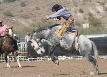 Cavaliere Bucking di Bronc del rodeo Fotografia Stock Libera da Diritti