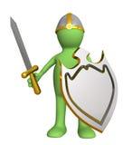 Cavaliere - burattino in un'armatura, con una scheda illustrazione vettoriale