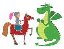 Cavaliere a cavallo e drago Fotografie Stock Libere da Diritti