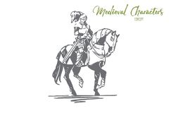 Cavaliere, cavallo, medievale, carattere, concetto dell'armatura Vettore isolato disegnato a mano illustrazione vettoriale
