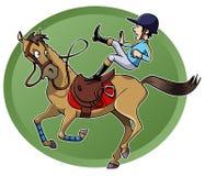 Cavaliere che cade dal suo cavallo Fotografie Stock