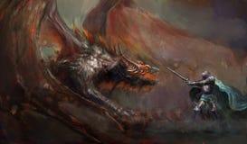 Cavaliere che combatte il drago Fotografia Stock