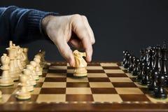 Cavaliere commovente della mano sulla scheda di scacchi Immagini Stock Libere da Diritti